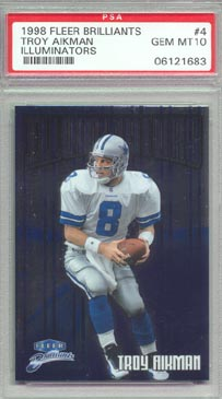 1998 Fleer Brilliants Football #4 Troy Aikman Illuminators PSA Gem Mint 10 Dallas Cowboys