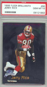 1998 Fleer Brilliants Football #60 Jerry Rice PSA Gem Mint 10 San Francisco 49ers