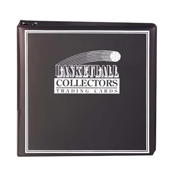 BASKETBALL CARD ALBUM 3 BLACK W/ 10 PROTECTIVE SHEETS