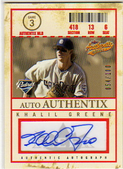 2005 Fleer Authentix Auto General Admission #KG Khalil Greene