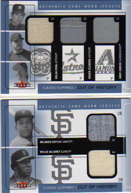 2005 Classic Clippings Cut of History Triple Jersey Blue #RCJ Nolan Ryan/Roger Clemens /Randy Johnson