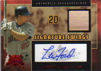 2005 National Pastime Signature Swings Bat Red #LF Lew Ford/76