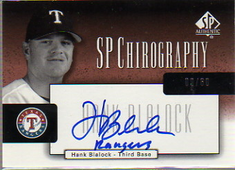 2004 SP Authentic Chirography Bronze #HB Hank Blalock