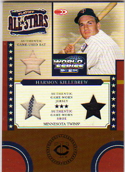 2004 Donruss World Series Playoff All-Stars Material 3 #17 H.Killebrew Bat-Jsy-Shoe/25