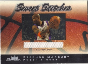 2003-04 Fleer Showcase Sweet Stitch Game-Used #8 Stephon Marbury