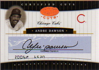 2004 Leaf Certified Cuts Check Signature Blue #2 Andre Dawson/22