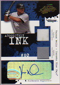 2005 Absolute Memorabilia Absolutely Ink Swatch Double #10 Vernon Wells J-J/25