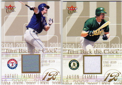 2004 Ultra Turn Back the Clock Jersey Gold #JG Jason Giambi A's