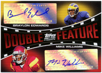 2005 Topps Draft Picks and Prospects Double Feature Dual Autographs #EW Braylon Edwards/Mike Williams