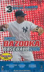 2006 Topps Bazooka Baseball Cards Box  (3 Relic Cards + Hobby Exclusive Mickey Mantle Over-Sized Card per box)