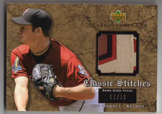 2003 Upper Deck Classic Portraits Stitches Patch Gold #RO Roy Oswalt
