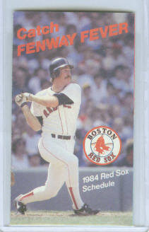 1984 Boston Red Sox Pocket Schedule ~ Wade Boggs