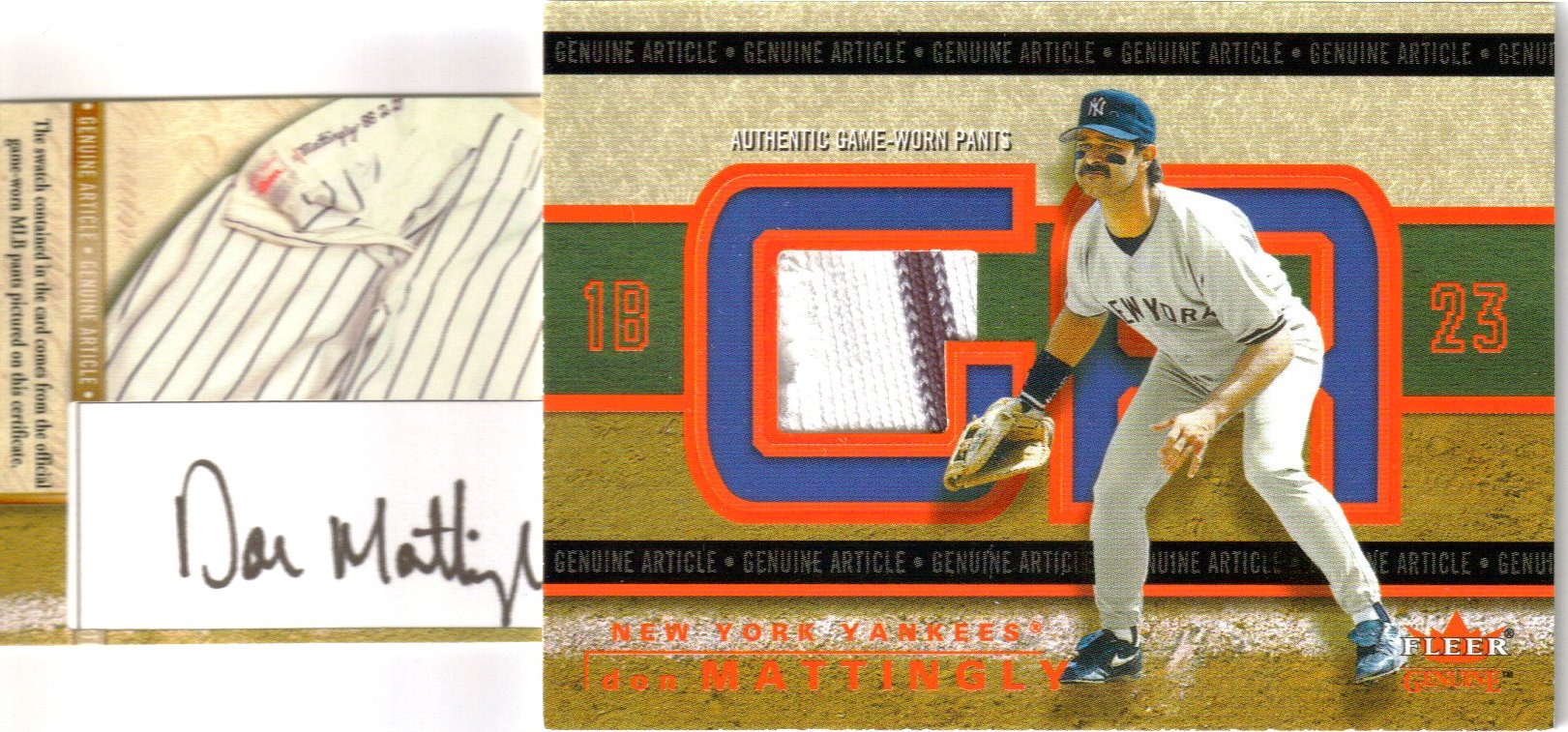 2003 Fleer Genuine Article Insider Game Jersey Autographs VIP Red #GADM Don Mattingly Pants