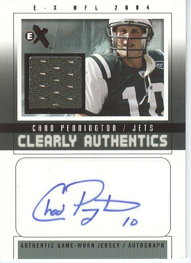 2004 E-X Clearly Authentics Jersey Autographs #CP2A Chad Pennington/80
