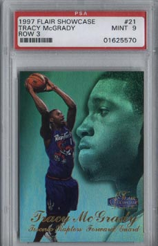 1997/98 Flair Showcase Basketball Tracy McGrady Row 3 Rookie Mint PSA 9 NICE!!