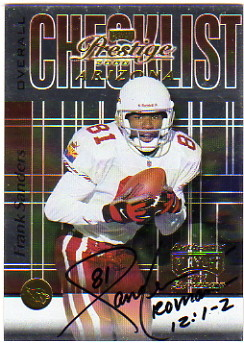 2000 Playoff Prestige Team Checklist #CL63 Frank Sanders AU