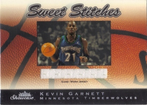 2003-04 Fleer Showcase Sweet Stitch Game-Used #2 Kevin Garnett