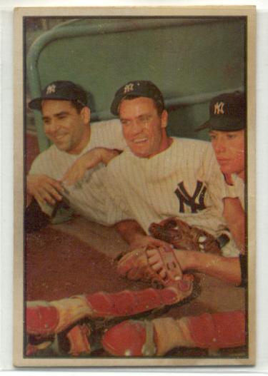 1953 Bowman Color #44 Yogi Berra/Hank Bauer/Mickey Mantle