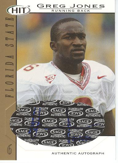 2004 SAGE HIT Autographs Gold #A6 Greg Jones