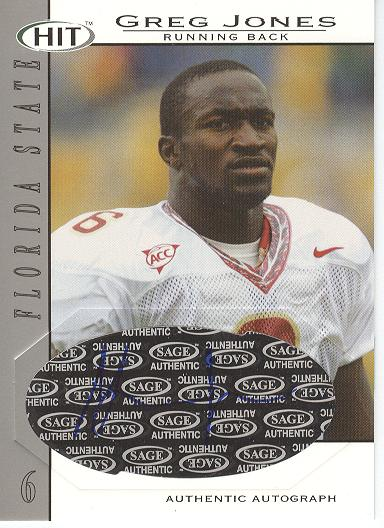 2004 SAGE HIT Autographs Silver #A6 Greg Jones