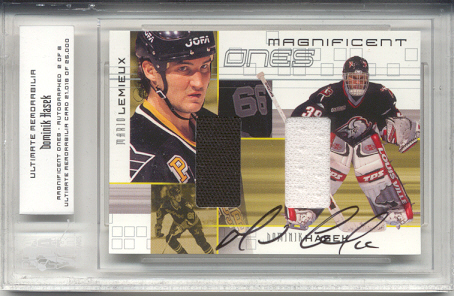 2000-01 BAP Ultimate Memorabilia Magnificent Ones Autographed #ML8 Dominik Hasek/Mario Lemieux