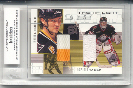 2000-01 BAP Ultimate Memorabilia Magnificent Ones #ML8 Dominik Hasek/Mario Lemieux