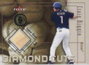 2001 Fleer Authority Diamond Cuts Memorabilia #4 Craig Biggio Bat/800