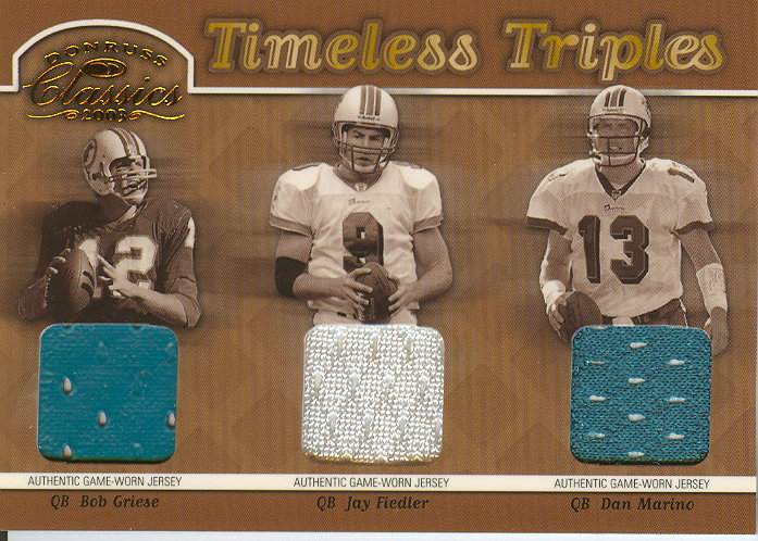 2003 Donruss Classics Timeless Triples Jerseys #TT5 Dan Marino/Bob Griese/Jay Fiedler/100