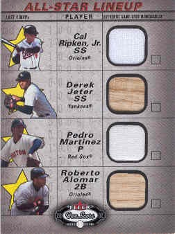 2002 Fleer Box Score All-Star Lineup Game Used #6 Cal Ripken Jsy/Derek Jeter Bat/Pedro Martinez Jsy/Roberto Alomar Bat front image