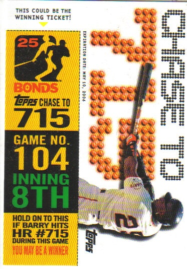 2006 Topps Barry Bonds Chase to 715 #104-8 B.Bonds Game 104 Inning 8