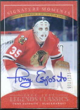 2004-05 UD Legends Classics Signature Moments #M9 Tony Esposito