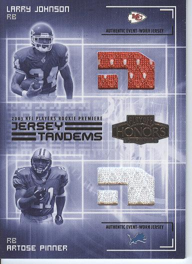 2003 Playoff Honors Jersey Tandems #JT3 Larry Johnson/Artose Pinner