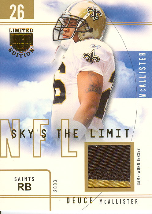 2003 SkyBox LE Sky's the Limit Jerseys Gold Proofs #SLDM Deuce McAllister