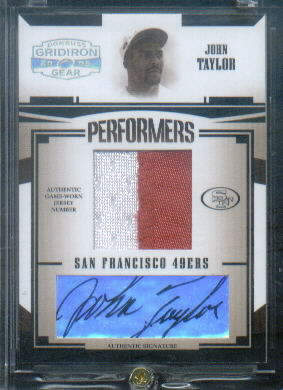 2005 Donruss Gridiron Gear Performers Jerseys Numbers Autographs #27 John Taylor/12