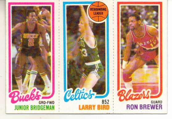 1980-81 Topps #49 146 Junior Bridgeman/31 Larry Bird TL/198 Ron Brewer