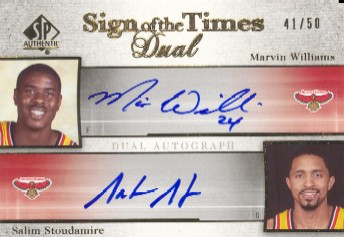 2005-06 SP Authentic Sign of the Times Dual #WS Marvin Williams/Salim Stoudamire
