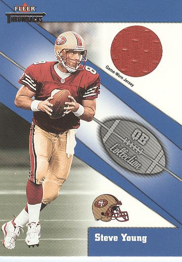 2002 Fleer Throwbacks QB Collection Memorabilia #17 Steve Young