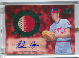 2005 Upper Deck Hall of Fame Cooperstown Calling Autograph-Patch Green #NR1 Nolan Ryan Angels