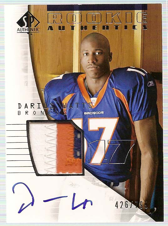 2004 SP Authentic #191 Darius Watts JSY AU RC