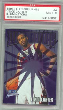 1998/99 Fleer Brilliants Basketball #4 VINCE CARTER  Illuminators PSA MINT 9 AWESOME!!