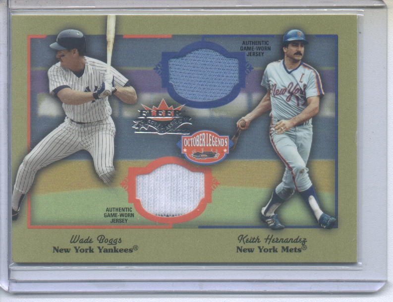 2002 Fleer Fall Classics October Legends Game Used Dual #14 Wade Boggs Jsy/Keith Hernandez Jsy
