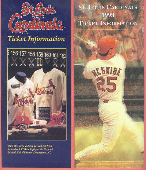 1998 & 1999 St. Louis Cardinals Ticket Information Schedule Booklets ~ Mark McGwire on Cover