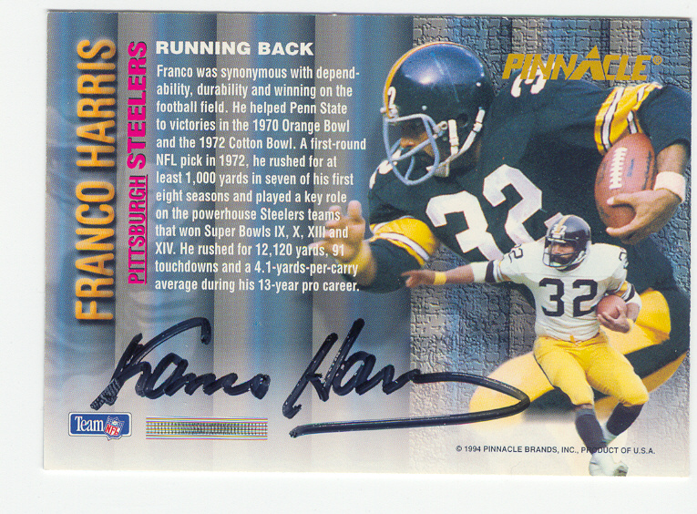 1993 Pinnacle #NNO Franco Harris AU/3000