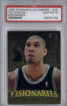 1999/00 Stadium Club Chrome Basketball #V2 Tim Duncan Visionaries Gem Mint PSA 10