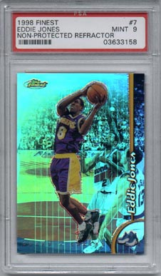 1998/99 Topps Finest Basketball #7 Eddie Jones No-Pro Refractor PSA MINT 9 BEAUTIFUL!!