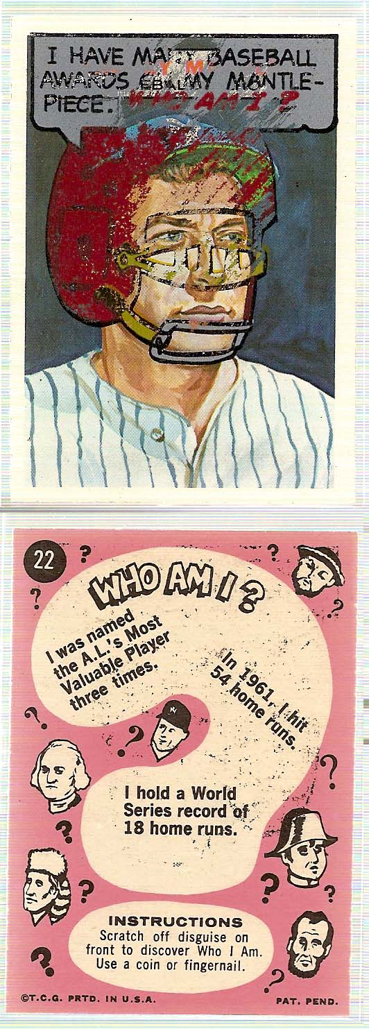 1967 Topps Who am I #22 Mickey Mantle