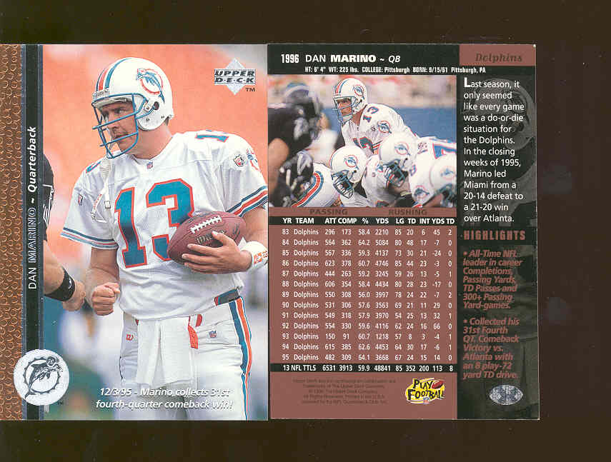 1996 Upper Deck PROMO Dan Marino Dolphins RARE Advertisment Card