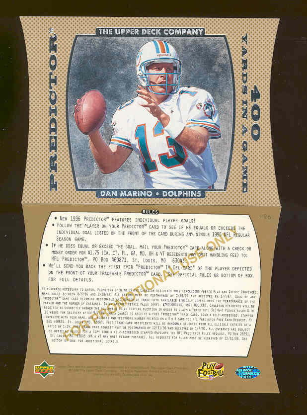 1996 Collector's Choice Predictor 400 Yards in a Game Promo Dan Marino #P96 Dolphins