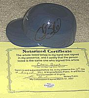 Norfolk Tides sundae mini helmet autographed autograph signed by CHRIS BASAK (New York Mets and Yankees)