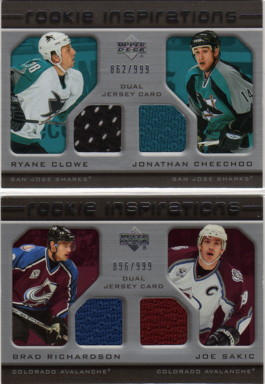 2005-06 Upper Deck Rookie Update #231 Ryane Clowe RC/Jonathan Cheechoo